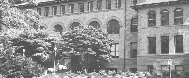 Grayscale photo of Old Main