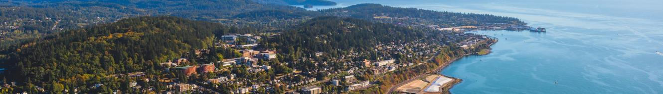 Aerial photo of Bellingham & the WWU Campus
