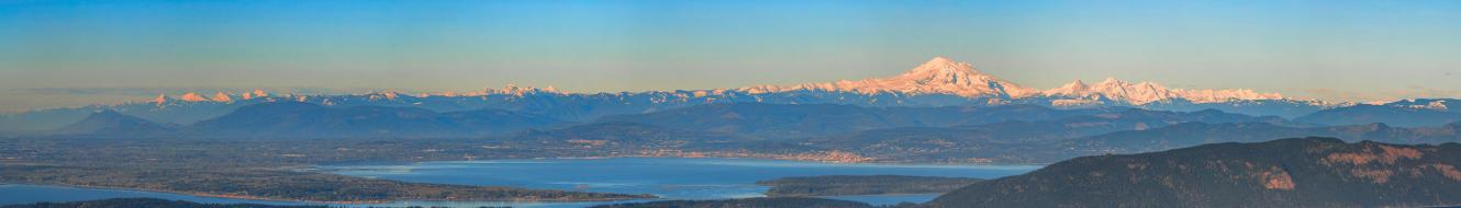Aerial photo of Whatcom County with Mount Baker in the background