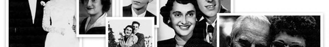 Collage of Black and white photos of Benita and Larry Offutt '54